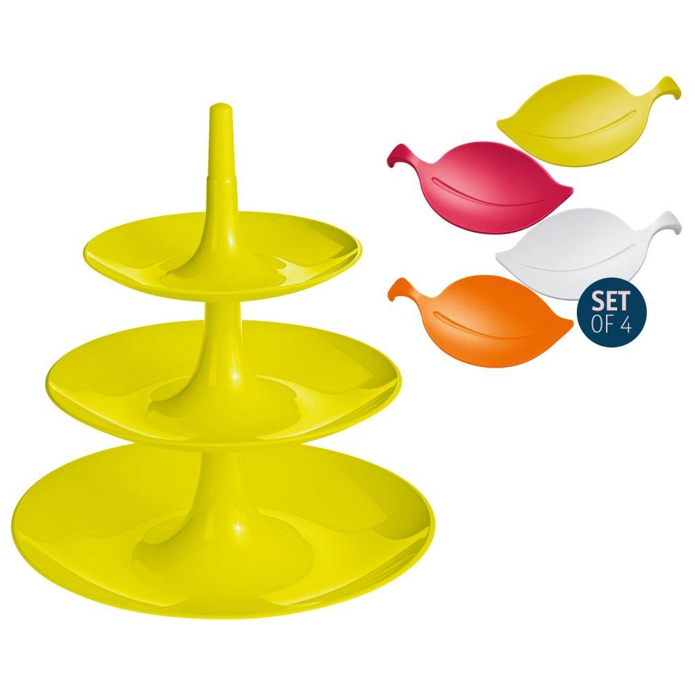 BABELL L + LEAF-ON Set senfgrün  + himbeerrot/oranger/senf/weiß