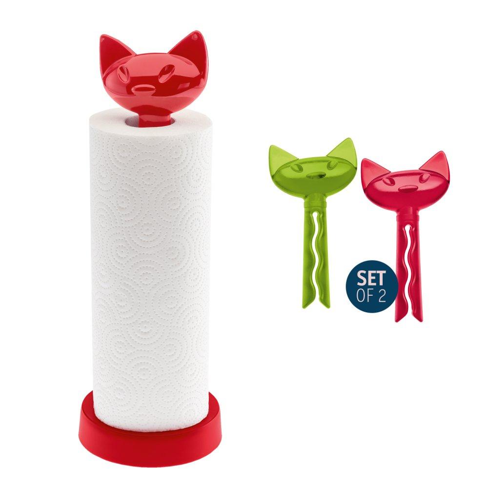 MIAOU Set Paper Towel Stand + 2 Bag Clip himbeerrot + tr. olivgrün/rot