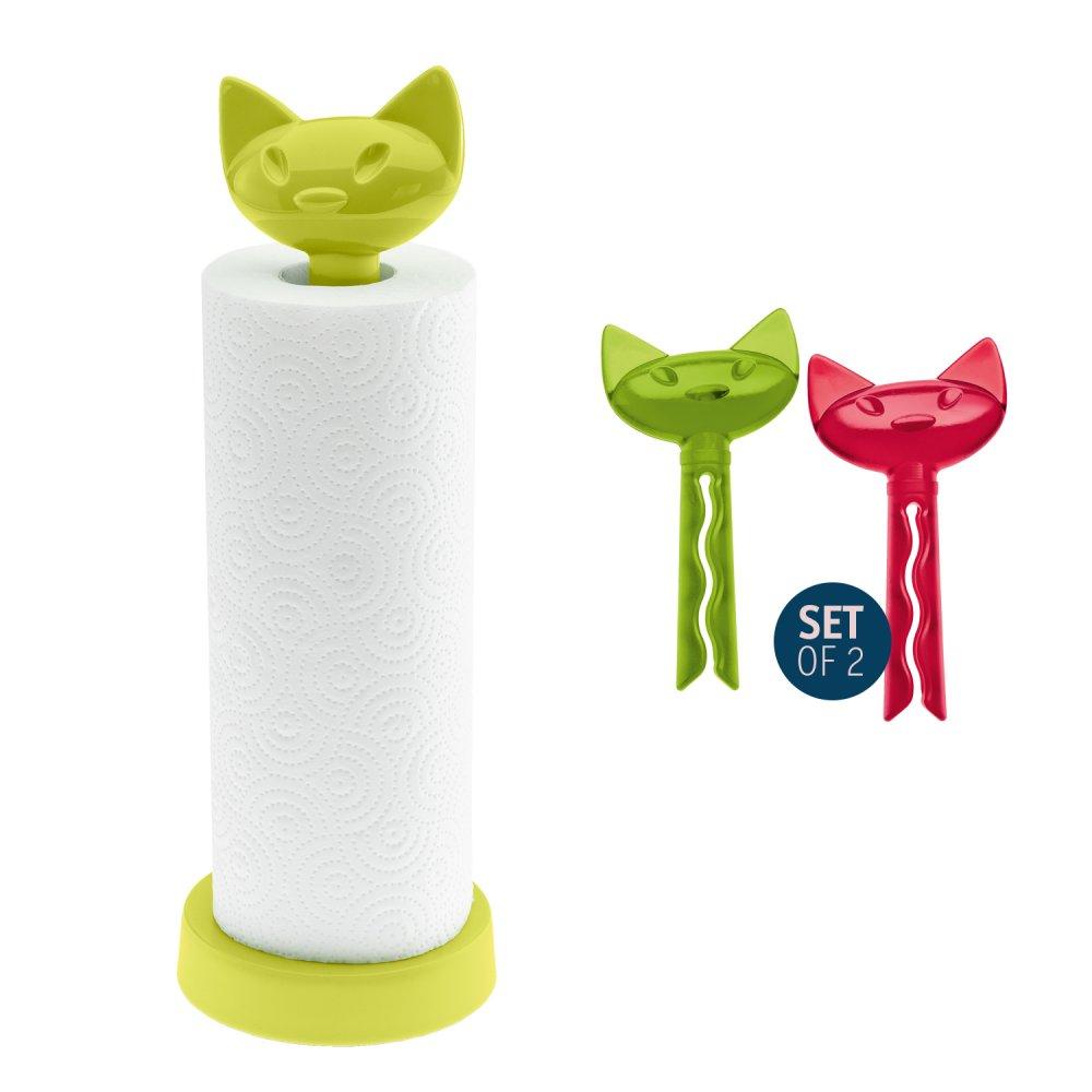 MIAOU Set Paper Towel Stand + 2 Bag Clip senfgrün + tr. olivgrün/rot