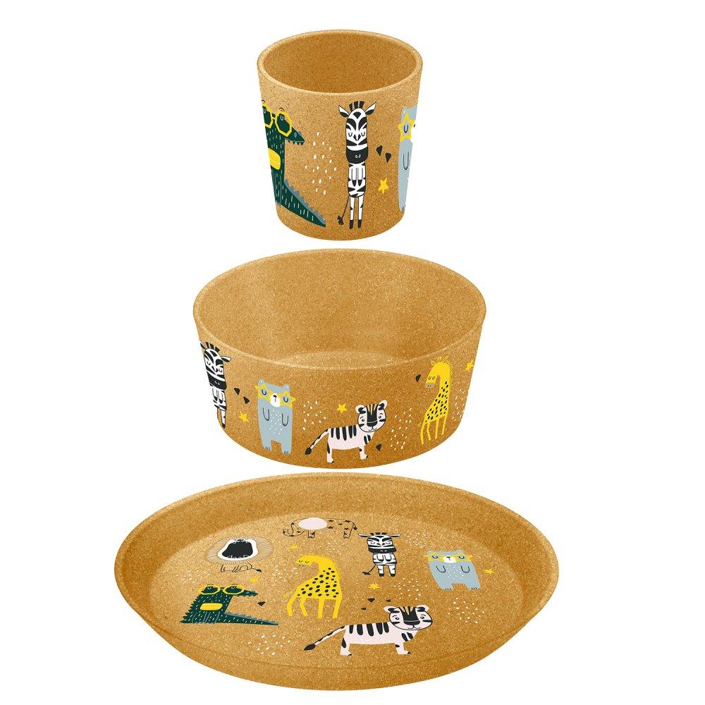KIDS SET ZOO Samll Plate, Bowl, Cup nature wood