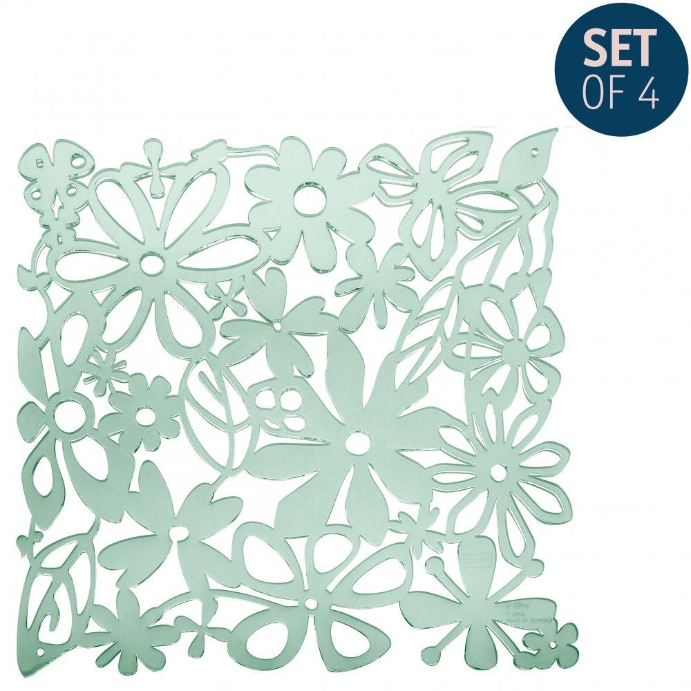 ALICE Raumteiler Dekoelement 4er-Set transparent eucalyptus green