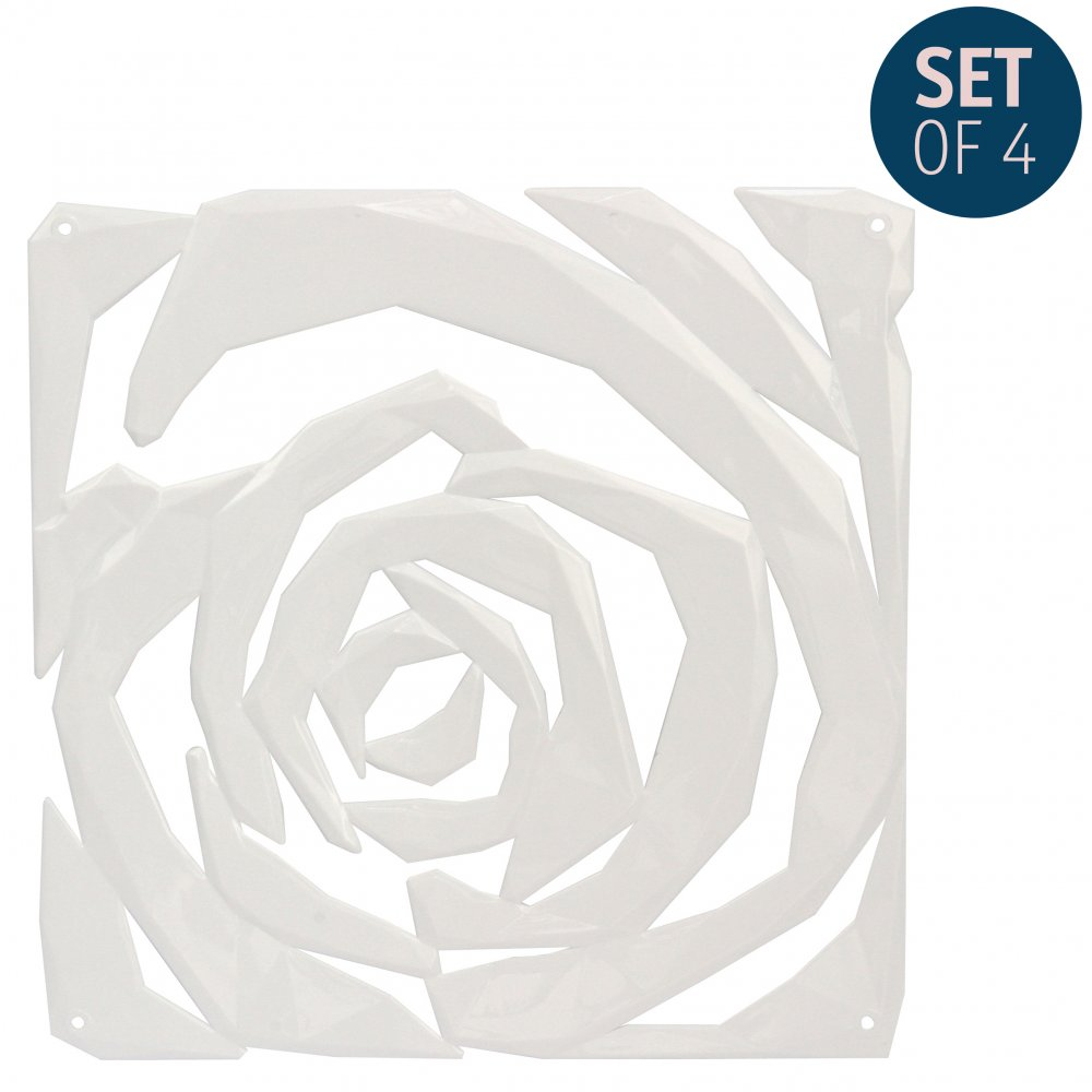 ROMANCE Room divider Ornament Set of 4 cotton white