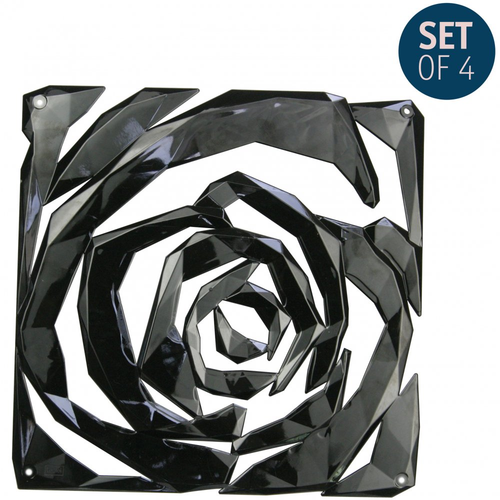 ROMANCE Room divider Ornament Set of 4 cosmos black
