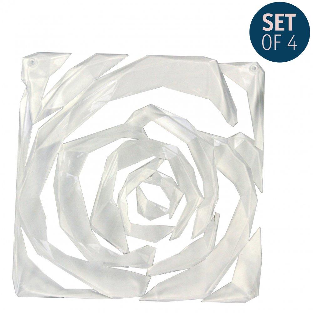 ROMANCE Raumteiler Dekoelement 4er-Set crystal clear