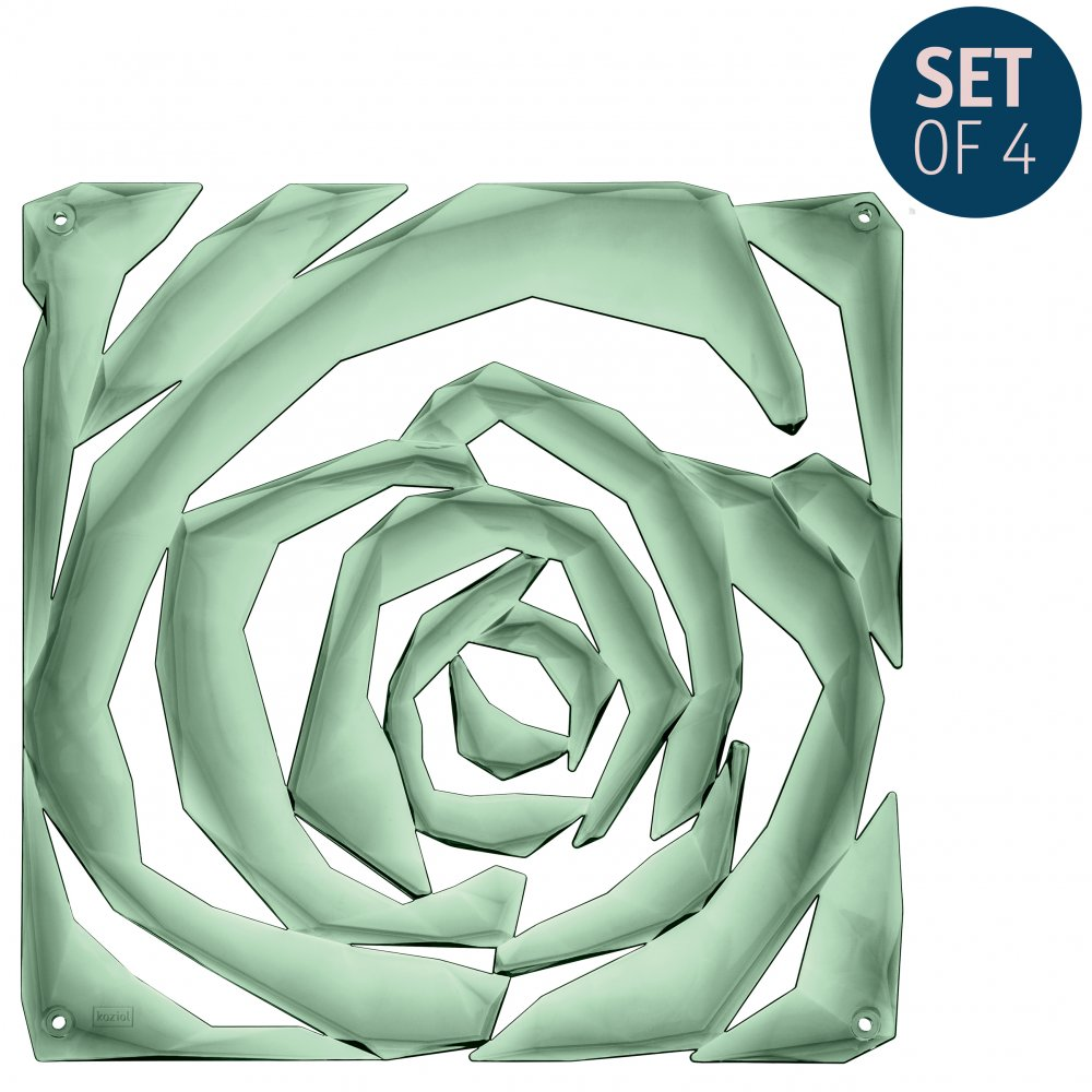 ROMANCE Room divider Ornament Set of 4 transparent eucalyptus green