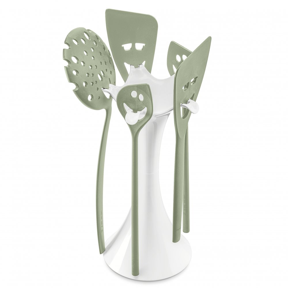 MEETING POINT Utensil Stand Set cotton white-eucalyptus green