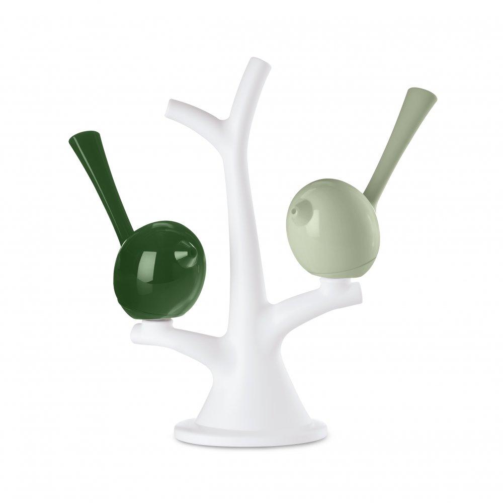 [pi:p] Salt & Pepper Shaker with tree cotton white-eucalyptus green/forest gre