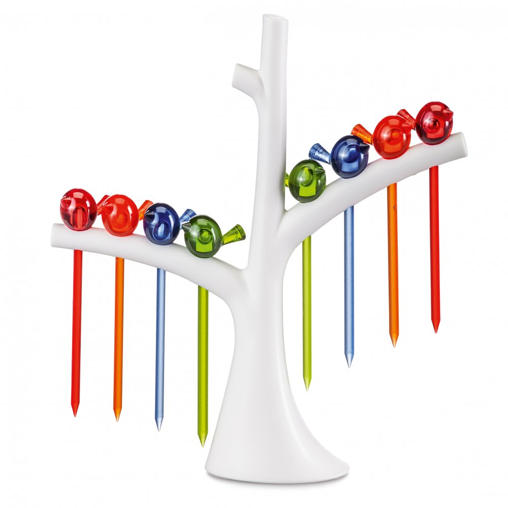 [pi:p] Hors d'oeuvres forks with tree cotton white-transparent  azure blue/olive green/orange/red