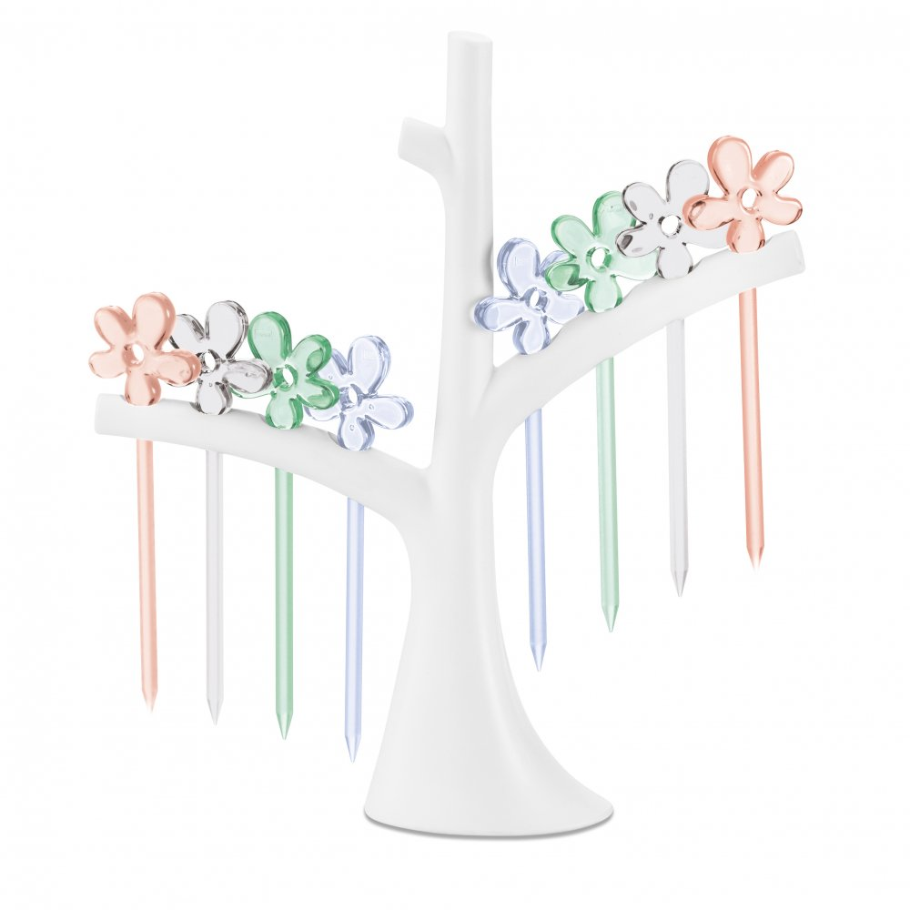 A-PRIL Hors d'oeuvres forks with tree tr. aquamarine/crystal clear/jade/rose q