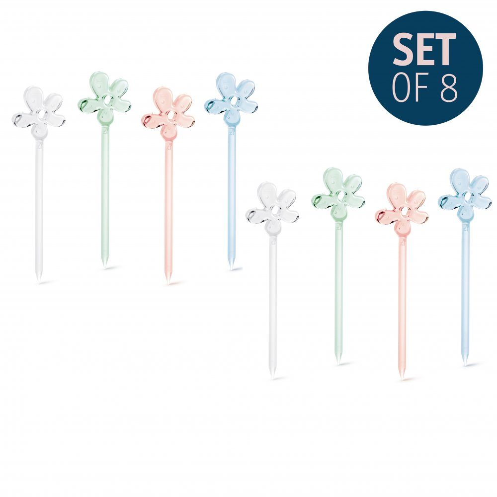 A-PRIL Hors d'oeuvres forks Set of 8 tr. aquamarine/crystal clear/jade/rose q