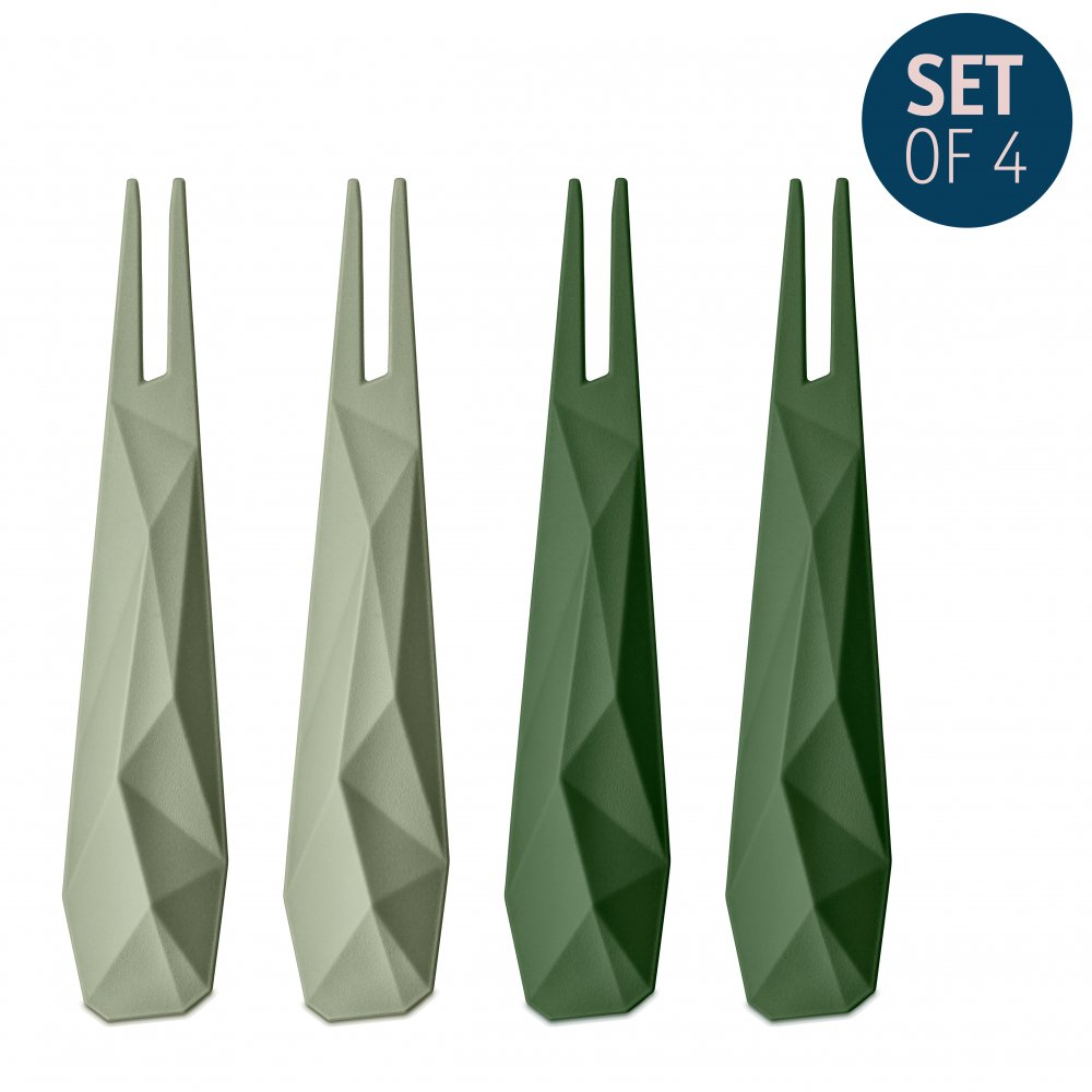 CLUB Hors d'oeuvres forks Set of 4 eucalyptus green/forest green
