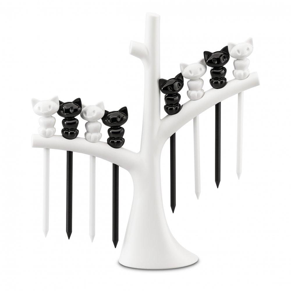 MIAOU Hors d'oeuvres forks with tree cotton white-cosmos black/cotton white
