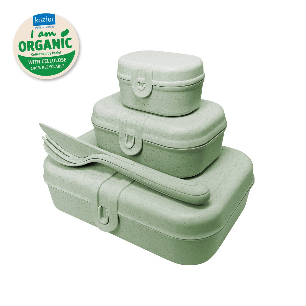 PASCAL READY ORGANIC Lunch Box Set + Cutlery Set organic green