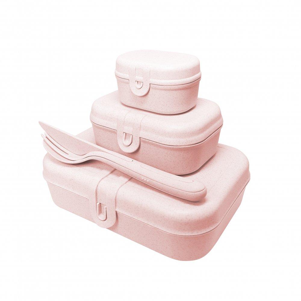 PASCAL READY Lunchbox-Set + Besteck-Set organic pink