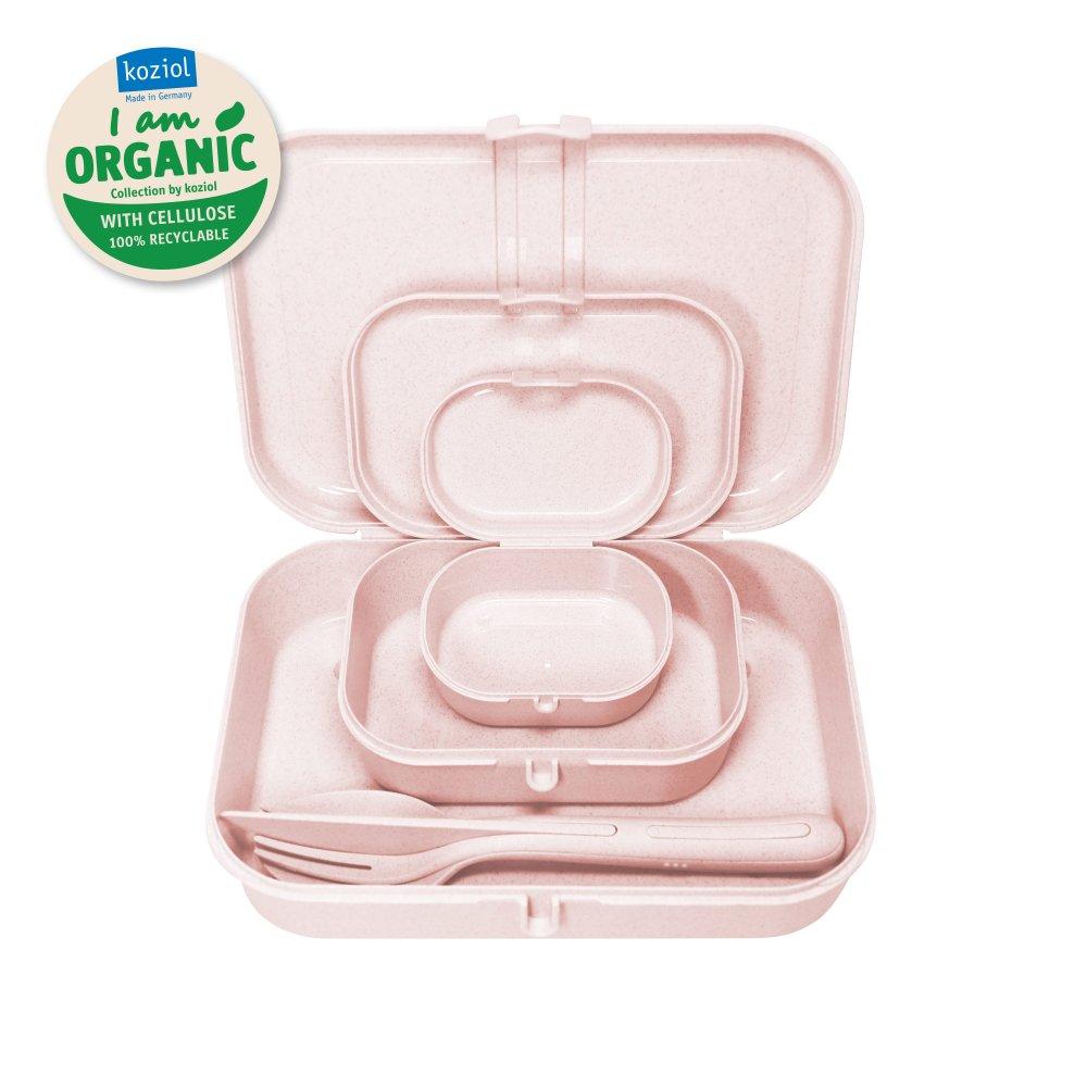 PASCAL READY ORGANIC Lunch Box Set + Cutlery Set organic pink