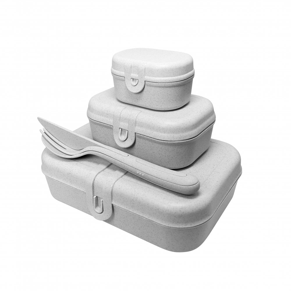 PASCAL READY Lunchbox-Set + Besteck-Set organic grey