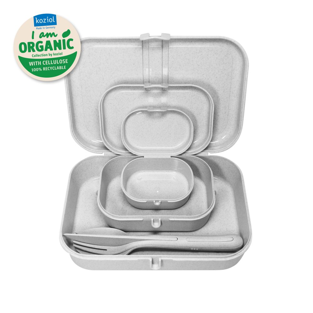 PASCAL READY ORGANIC Lunchbox-Set + Besteck-Set organic grey