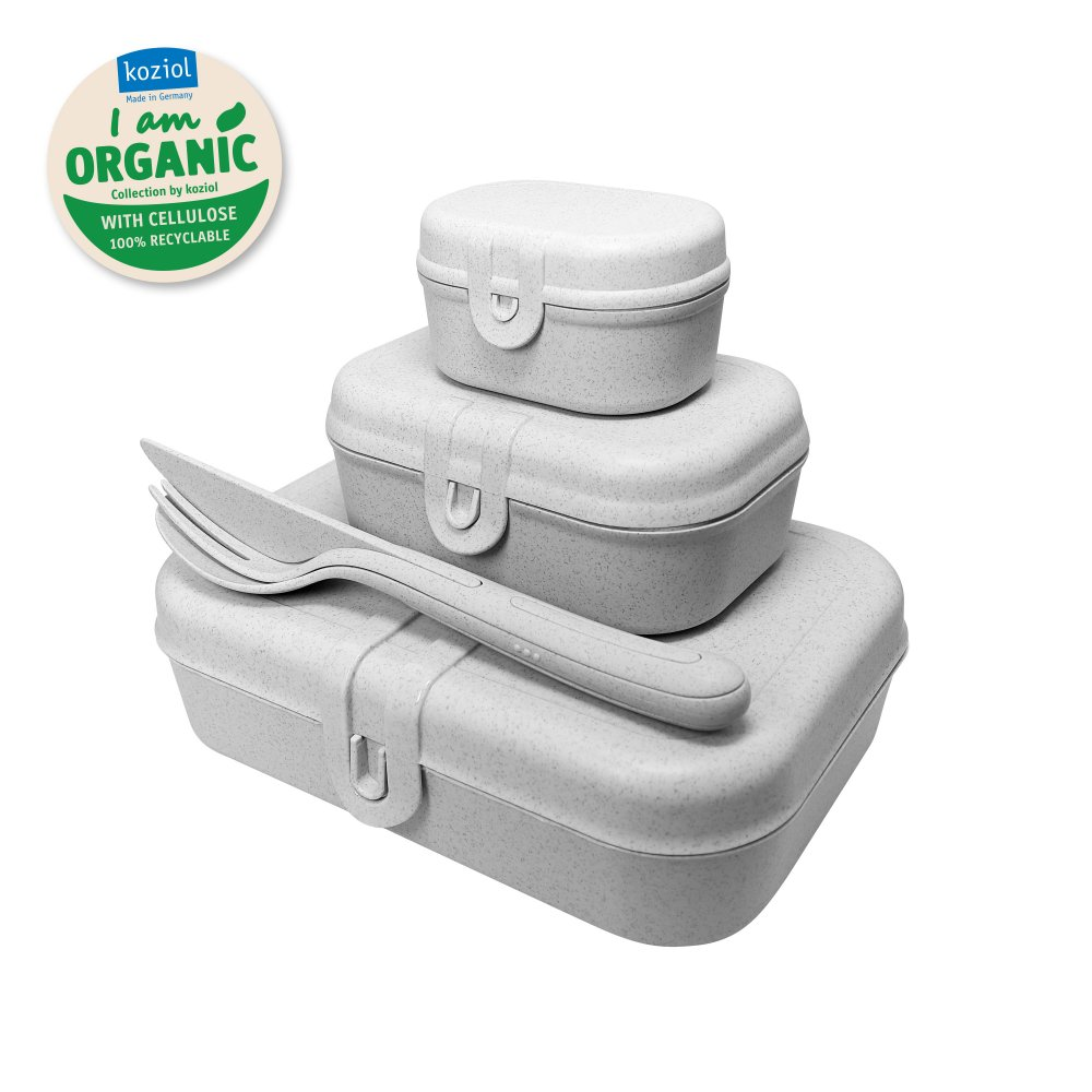 PASCAL READY ORGANIC Lunch Box Set + Cutlery Set organic grey