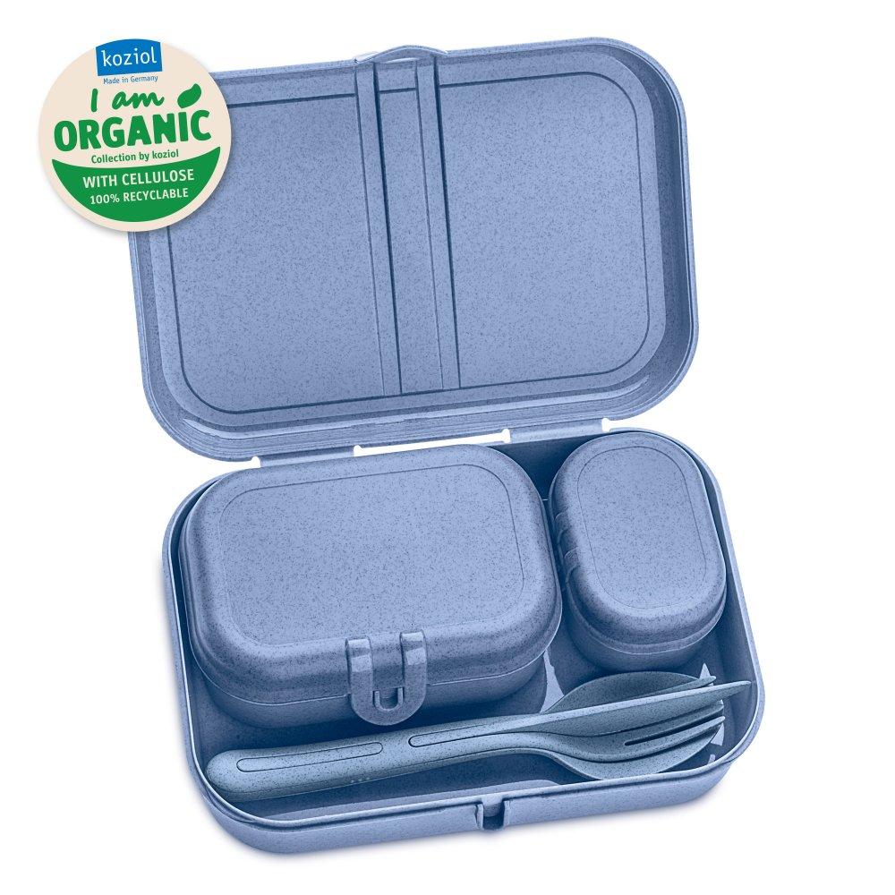 PASCAL READY ORGANIC Lunch Box Set + Cutlery Set organic blue