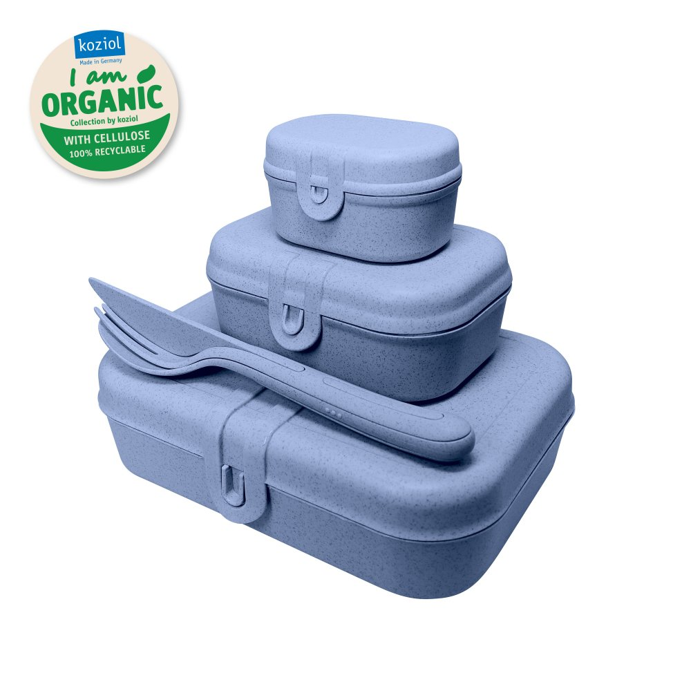 PASCAL READY Lunchbox-Set + Besteck-Set organic blue