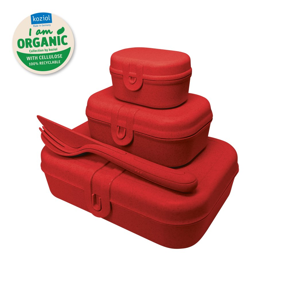 PASCAL READY Lunch Box Set + Cutlery Set organic red