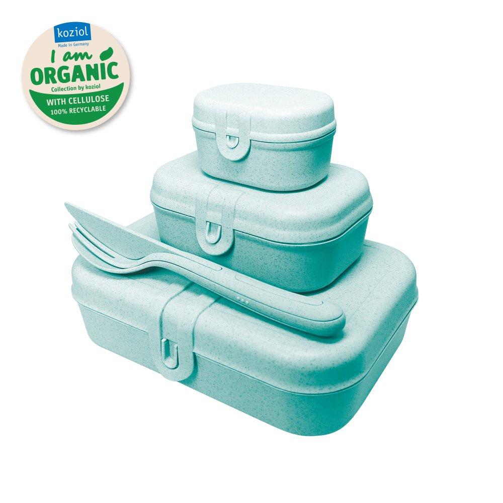 PASCAL READY Lunchbox-Set + Besteck-Set organic aqua
