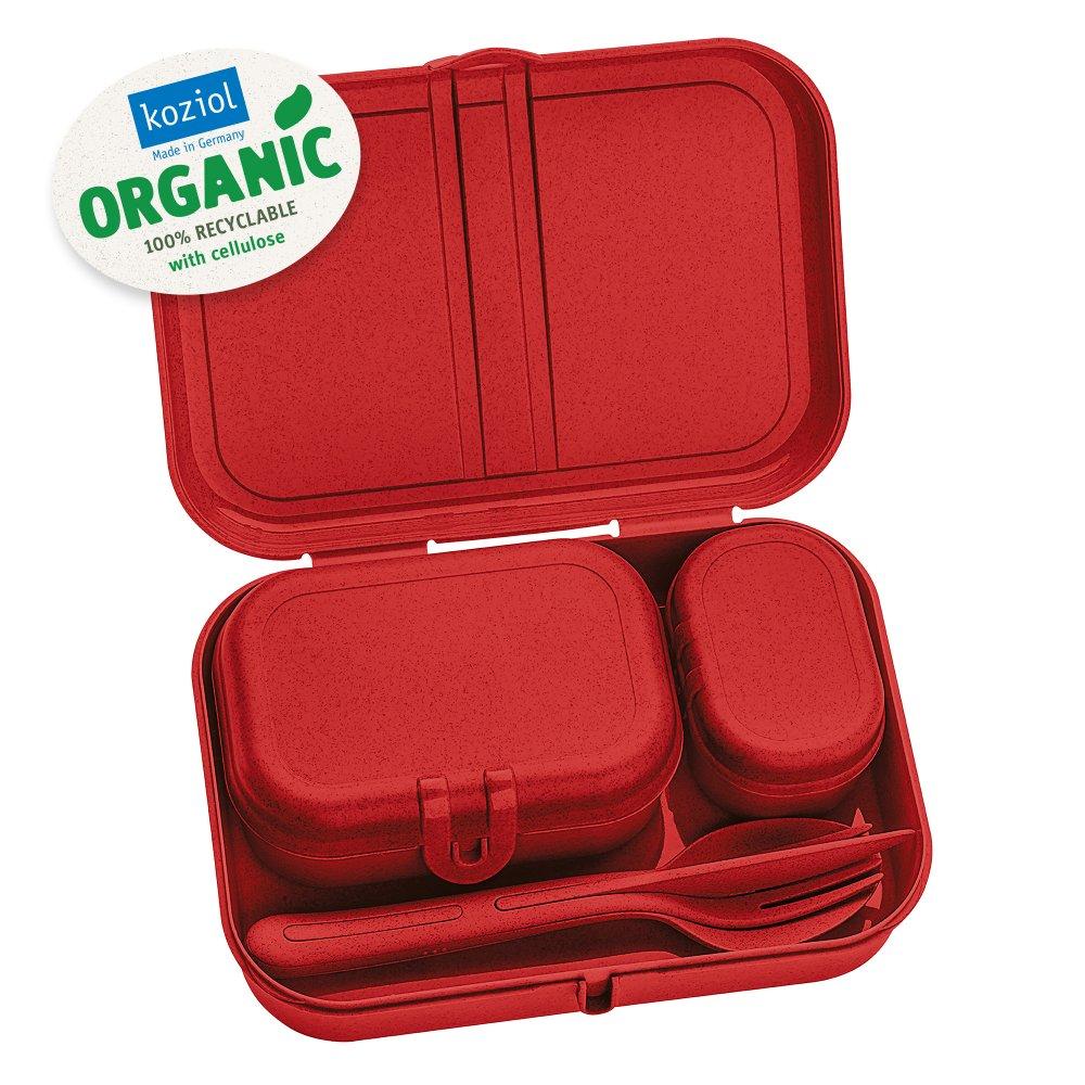 PASCAL READY ORGANIC Lunch Box Set + Cutlery Set organic red