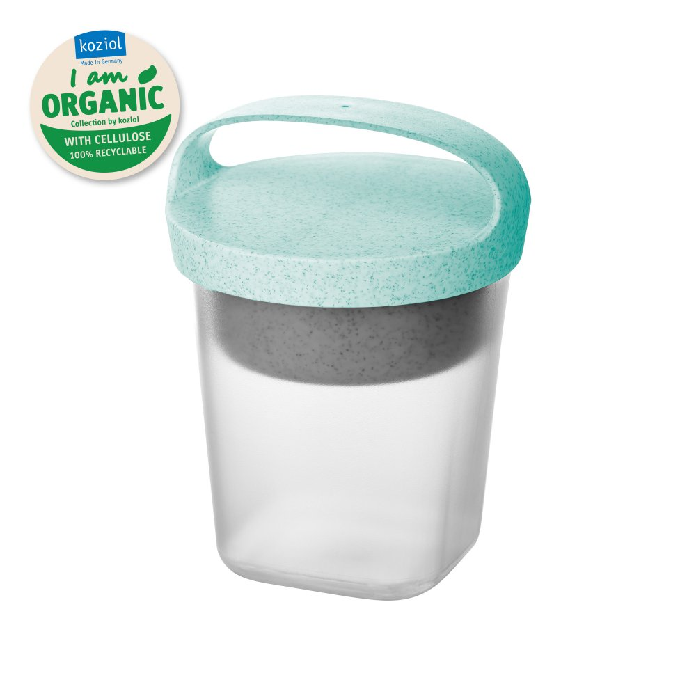 BUDDY 0,5 Snackpot with insert and lid 500ml organic aqua-organic white/tr. clear