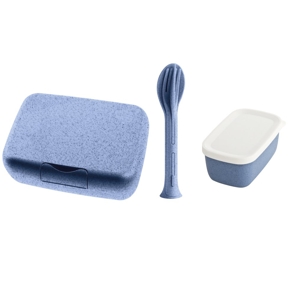 CANDY READY Organic Lunchbox-Set + Besteck-Set organic blue
