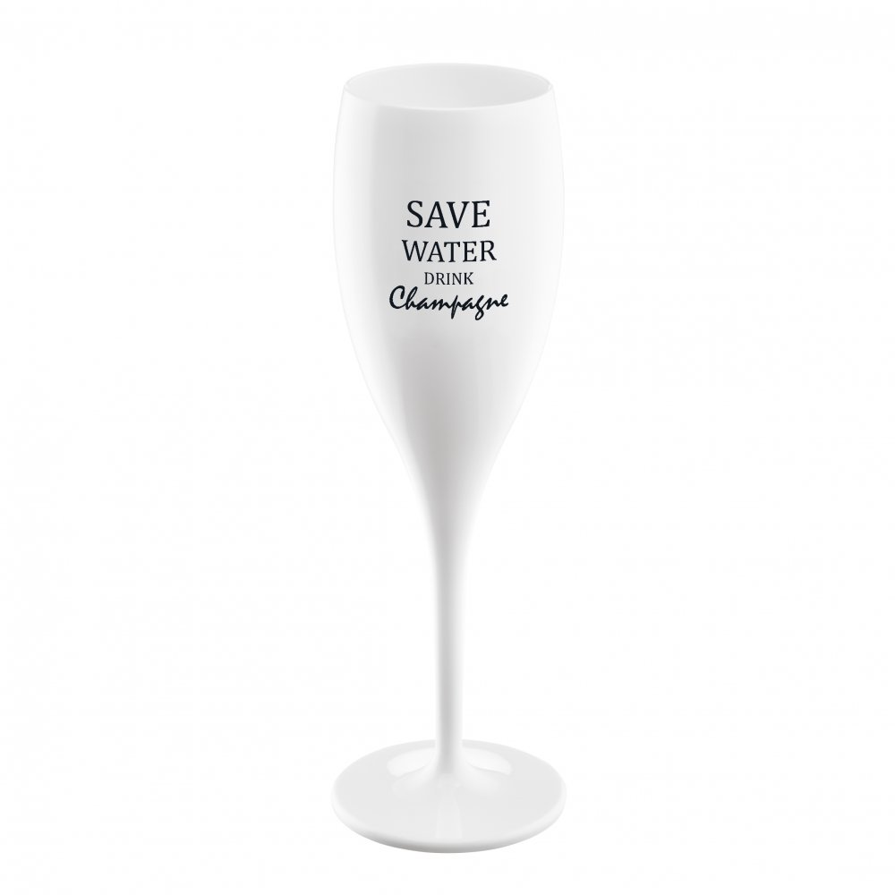 CHEERS NO. 1 SAVE WATER DRINK CHAMPAGNE Superglas 100ml mit Druck cotton white