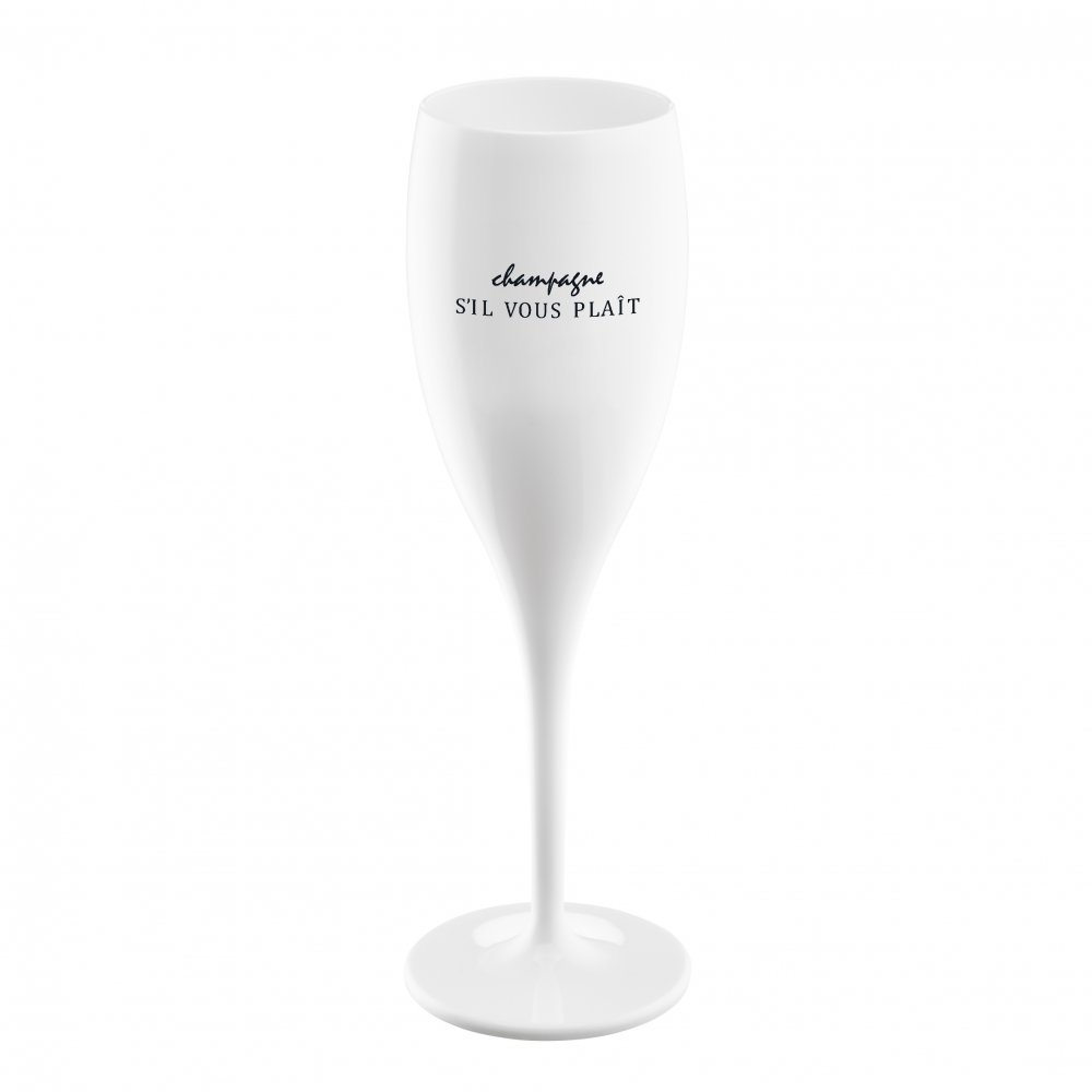 CHEERS NO. 1 CHAMPAGNER SIL VOUS PLAIT Superglas 100ml mit Druck cotton white