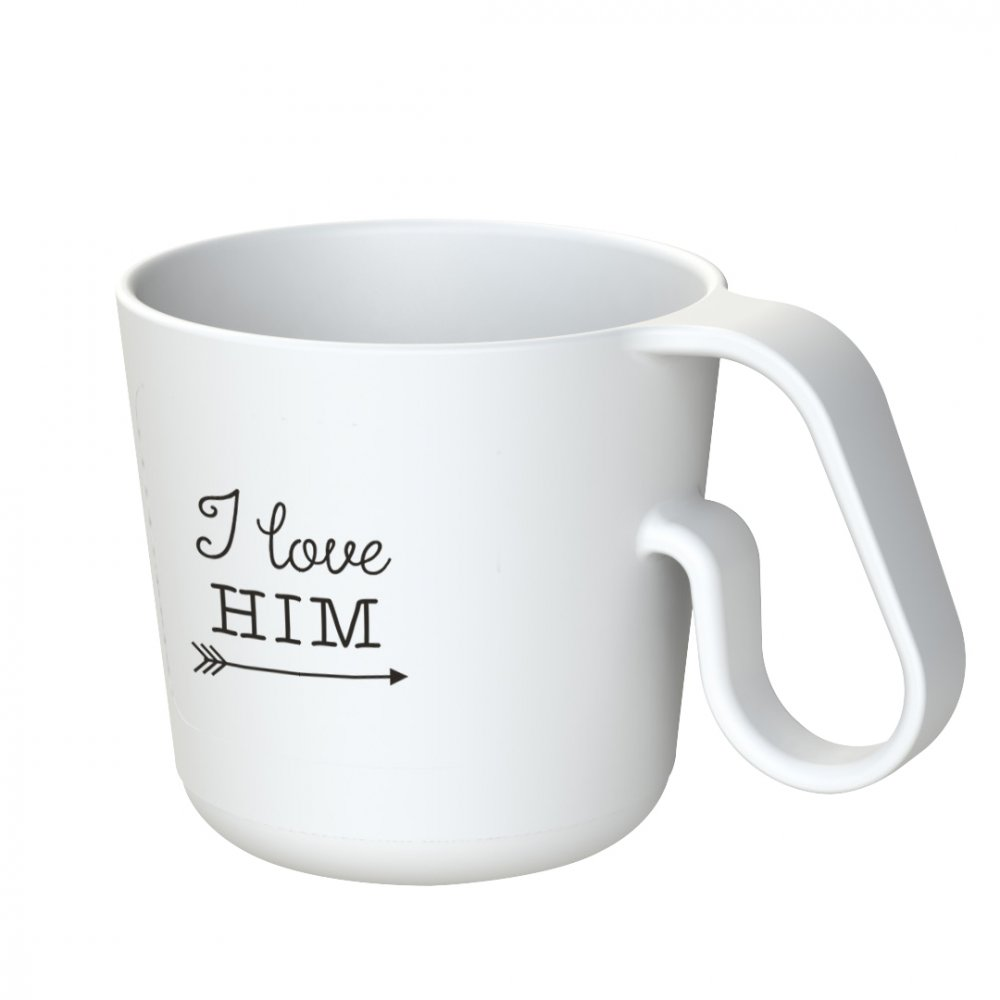 MAXX I LOVE HIM Henkeltasse mit Druck cotton white
