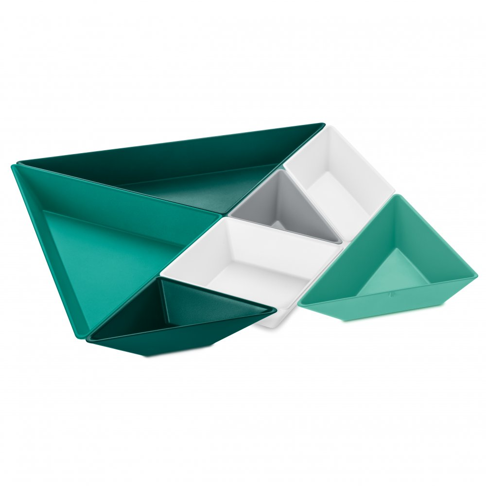 TANGRAM READY Schalen-Set cotton white/cool grey/emerald green/jungle green/tropical splash