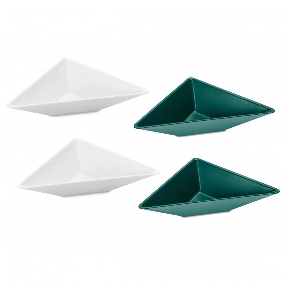 TANGRAM 1 Bowl Set Set of 4 cotton white-emerald green/jungle green