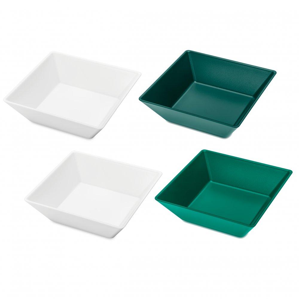 TANGRAM 4 Schalen-Set 4er-Set cotton white-emerald green/jungle green