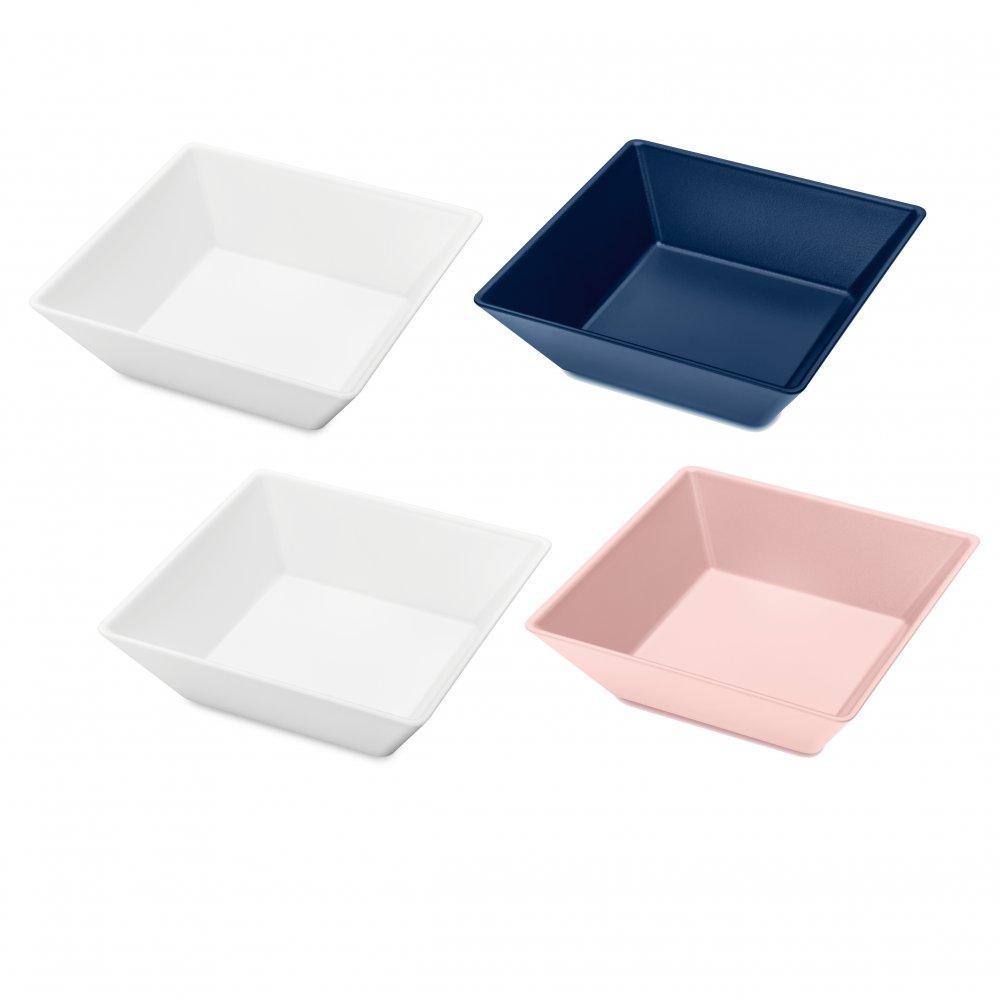 TANGRAM 4 Schalen-Set 4er-Set cotton white-deep velvet blue/powder pink