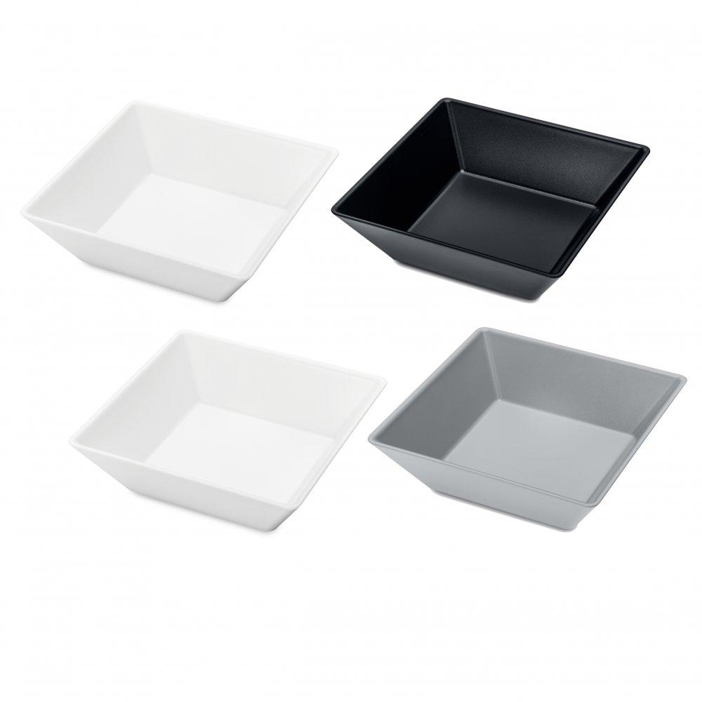 TANGRAM 4 Bowl Set Set of 4 cotton white-cool grey/cosmos black