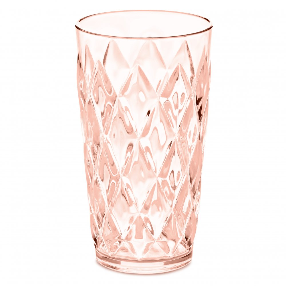 CRYSTAL L Glas 450ml transparent rose quartz