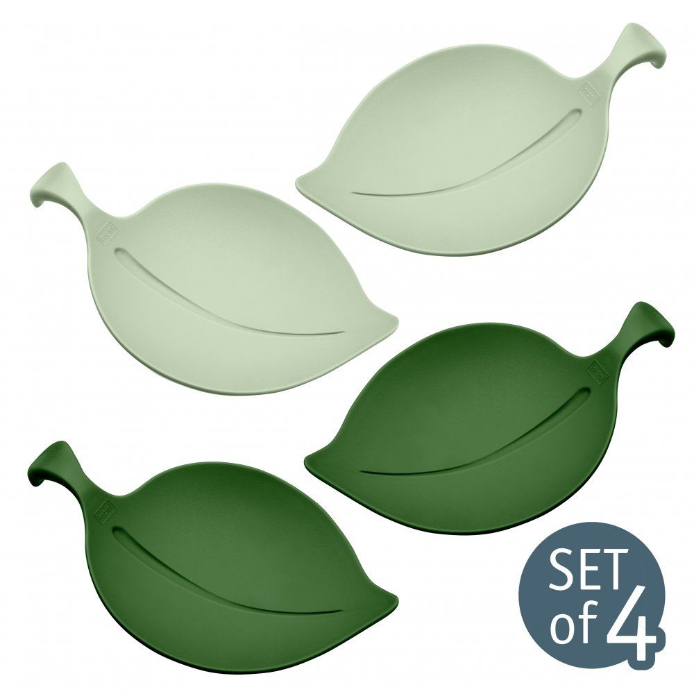 LEAF-ON Bowl Set of 4 eucalyptus green/forest green