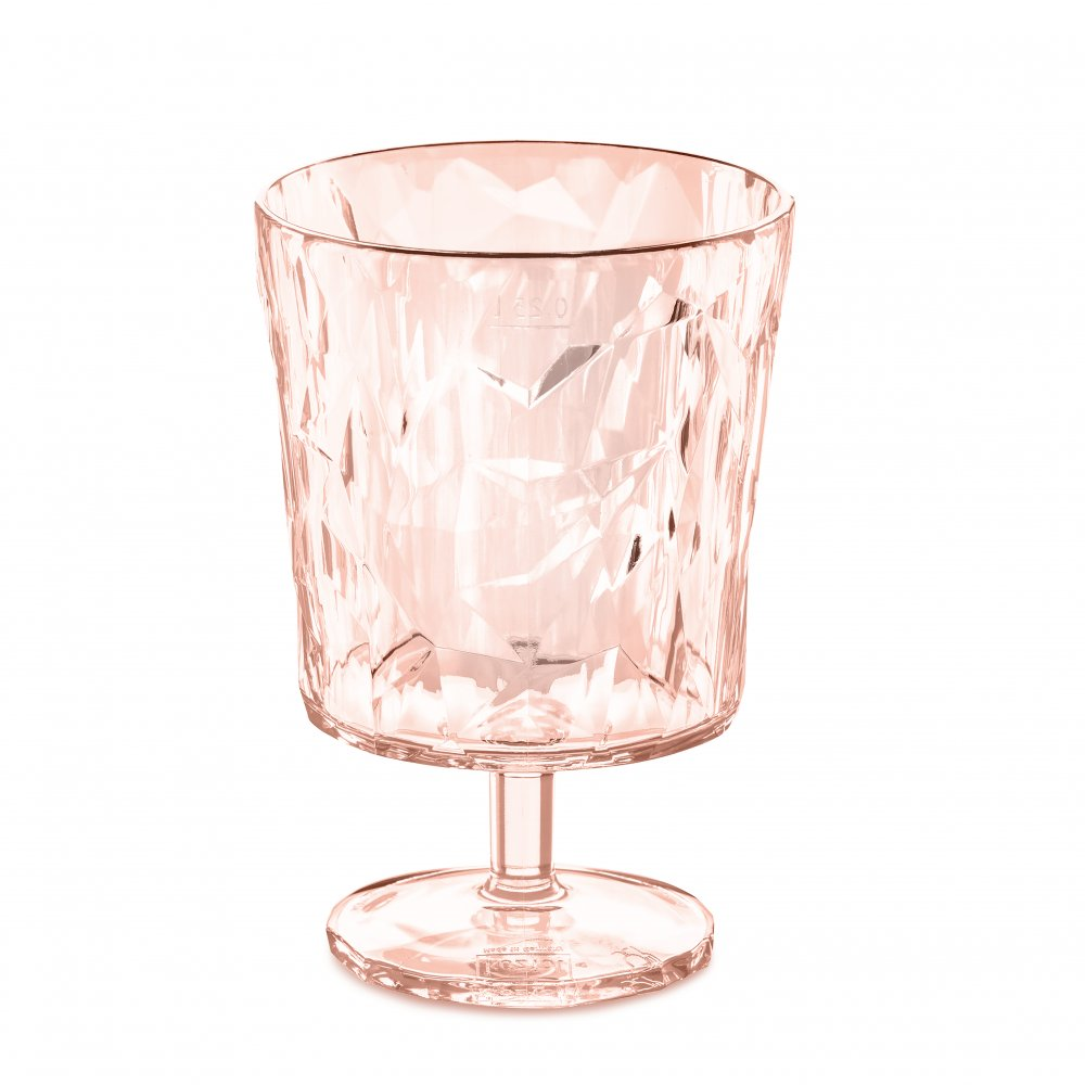 CLUB S Glas 250ml transparent rose quartz