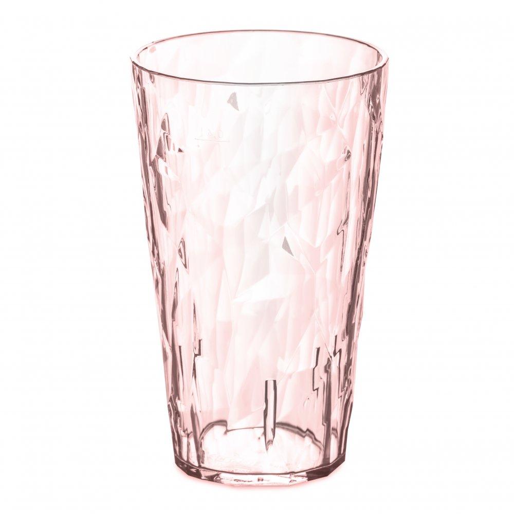 CLUB L Glas 400ml transparent rose quartz