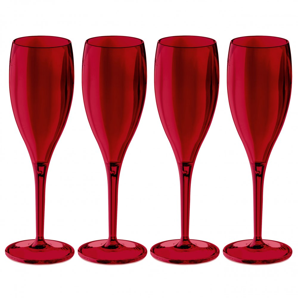 CHEERS NO. 1 Superglas 100ml Set of 4 transparent deep red