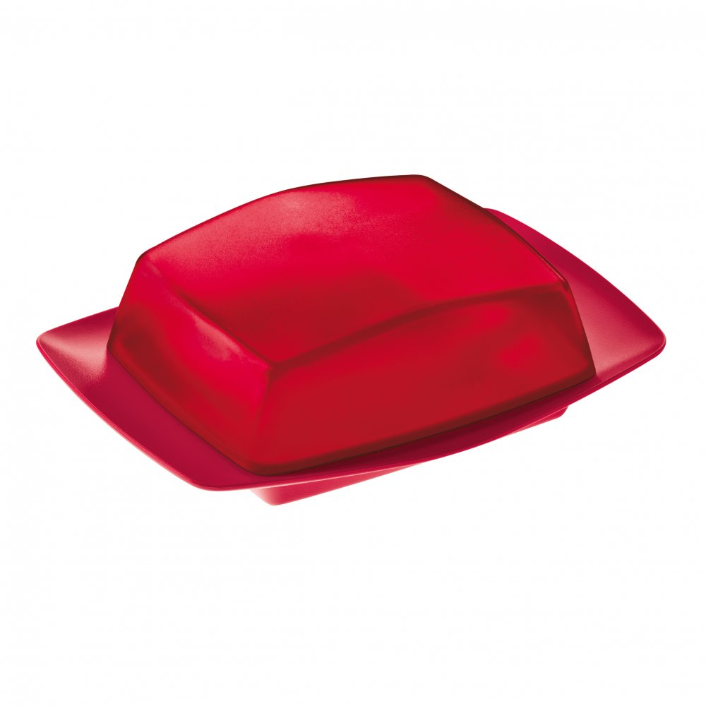 RIO Butter Dish transparent  red/raspberry red