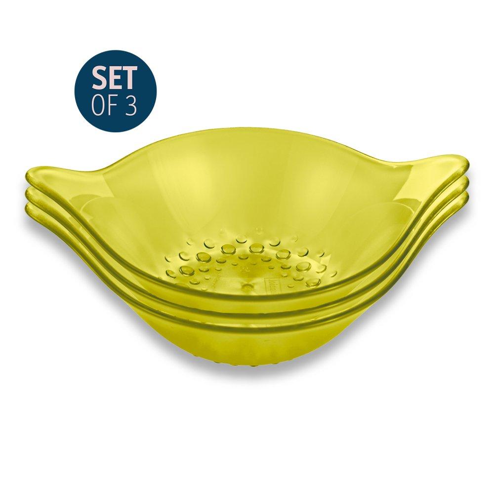 LEAF S Bowl 600ml 3er-Set transparent olivgrün