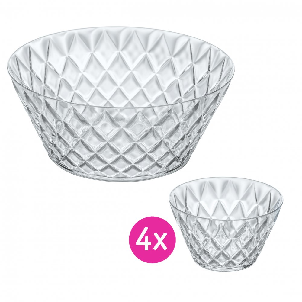 CRYSTAL Salad Bowl 3,5l with 4 bowls crystal clear