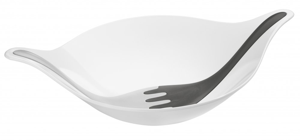 LEAF XL+ Salad bowl with servers 4,5L cotton white-deep grey/soft grey