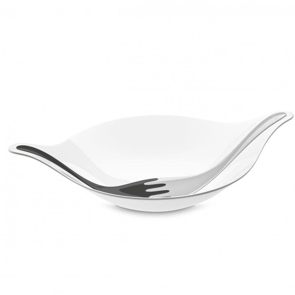 LEAF L+ Salatschale mit Besteck 3l cotton white-deep grey/soft grey