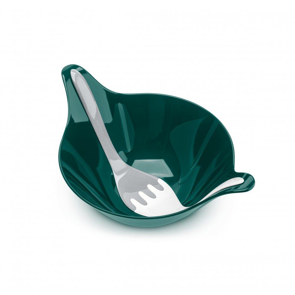 LEAF 2.0 Salatschale mit Besteck 4l emerald green-cotton white/cool grey