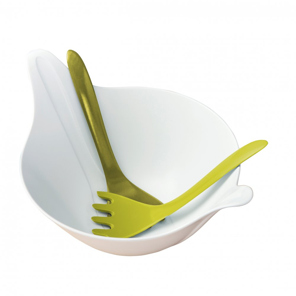 LEAF 2.0 Salad bowl with servers 4l cotton white-olive green/mustard green