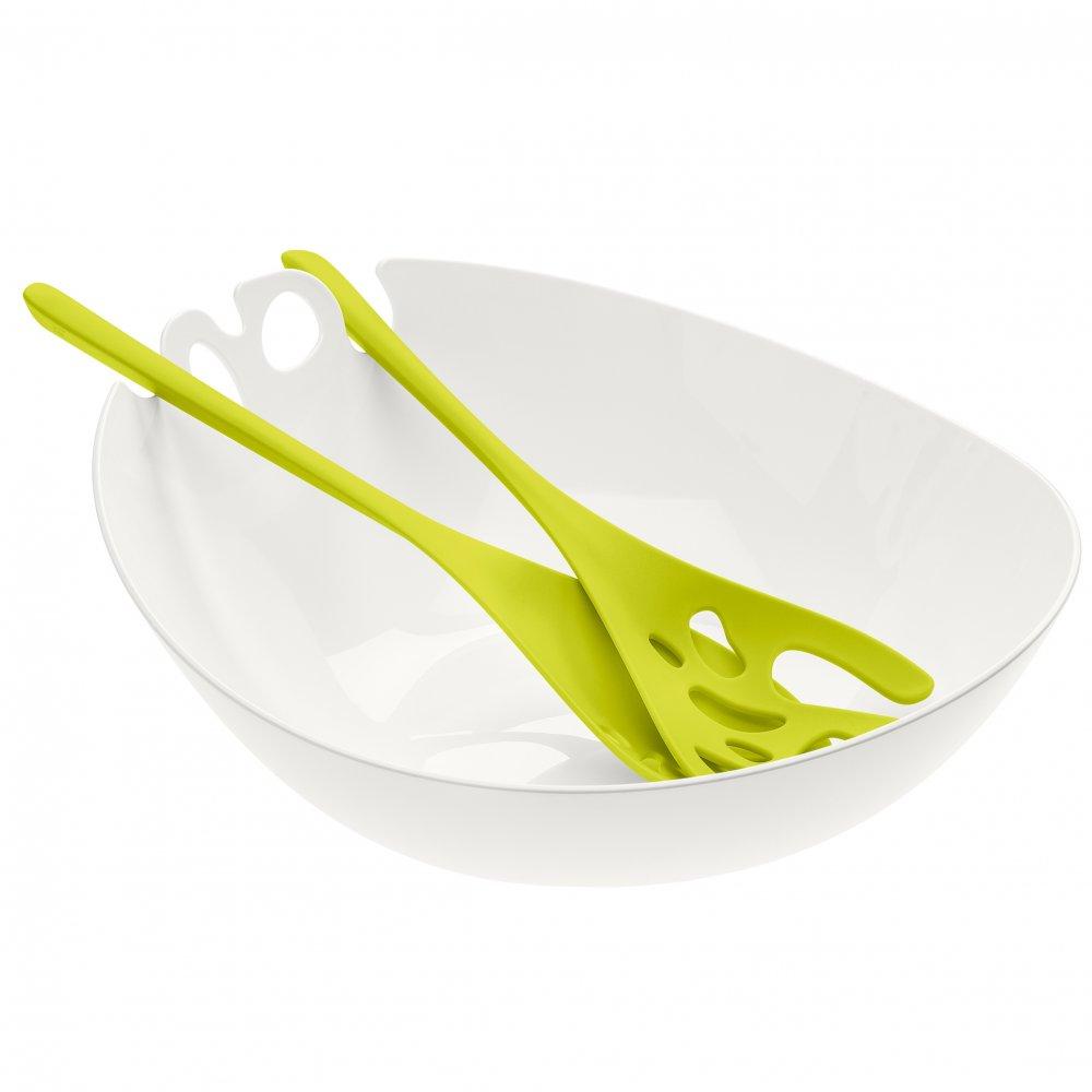 SHADOW Salatschüssel mit Besteck 3,5l cotton white-mustard green